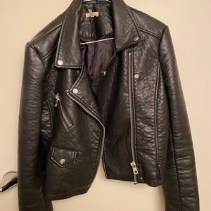 Black Silence+Noise Faux Leather Jacket in Large